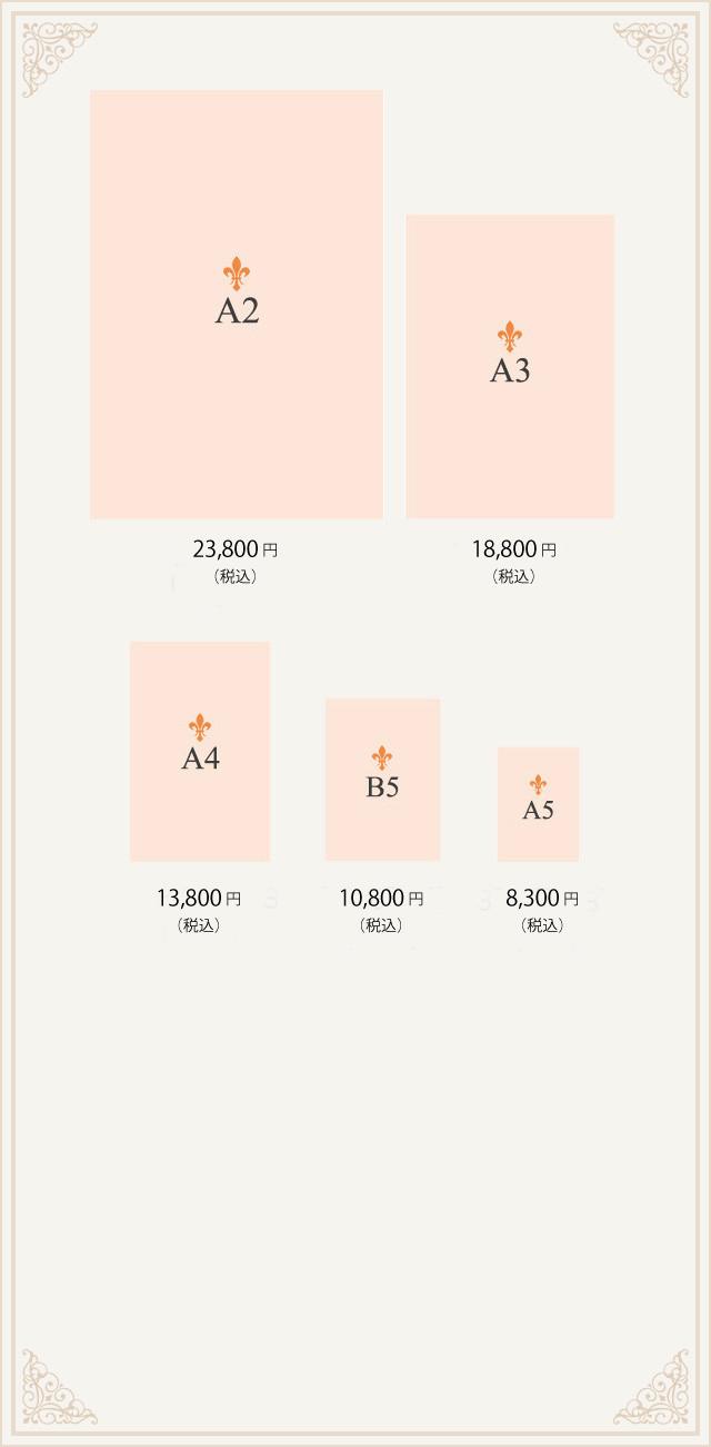 フルオーダーアクリルフォトボード A2:23,800円(税込)A3:18,800円(税込)A4:13,800円(税込)B5:10,800円(税込)A5:8,300円(税込)